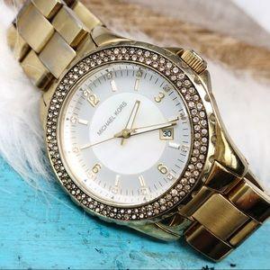 Michael Kors MK5258 Gold Watch MOP Face Rhinestone
